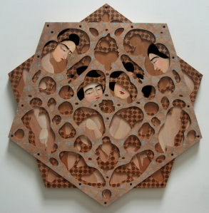 Hayv-Kahraman_Decagram_2013_oil-on-panel_diameter-127cm